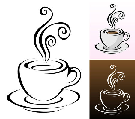 coffee cups icons in different colours & styles Vector