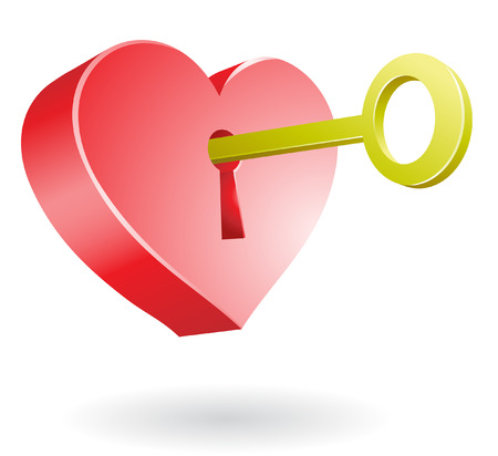 golden key unlocking the secret of love Vector