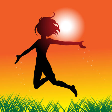 a girl jumping and running around with joy Stock Vector - 4206805