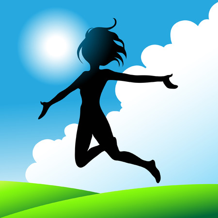 outstretched: girl jumping under the sunny blue sky
