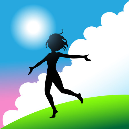 free backgrounds: a girl jumping and running around with joy