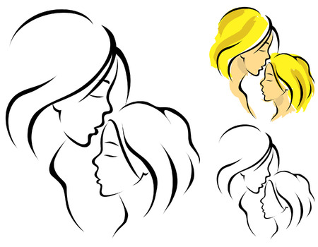 affetto: Linea d'arte logo di una madre e sua figlia Vettoriali