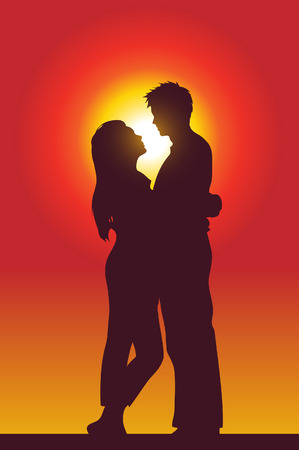 sensuality: a happy couple holding each other, silhouette