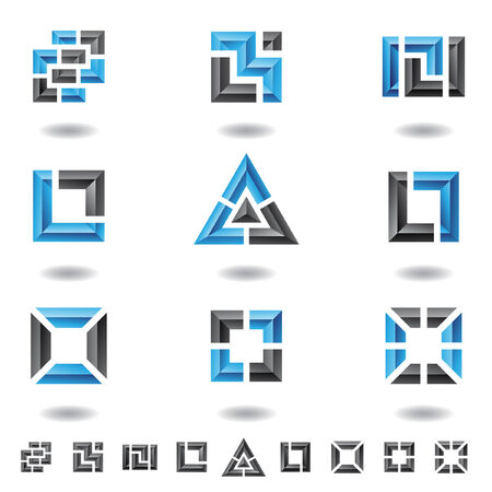 blue abstract squares, rectangles and a triangle Vector
