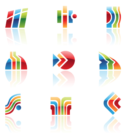 ordinateur logo: Brillant r�tro ic�nes de r�sum� les �l�ments de la conception