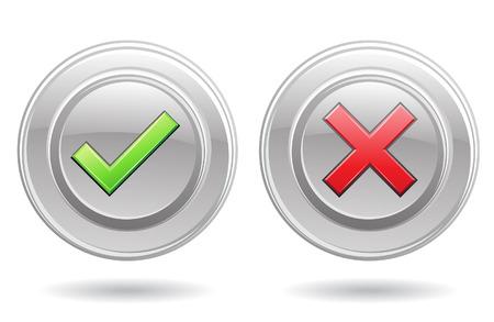 zecke: OK-Zeichen und Fehler Zeichen isoliert auf wei�em Hintergrund