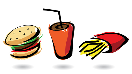 3 colourful fast food icons, isolated illustrations Illustration