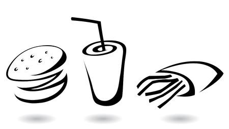 obesidad: Iconos de la l�nea de comida r�pida arte ilustraciones, aisladas Vectores