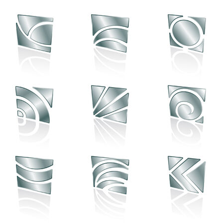 metallic abstract square icons on a white background Vector