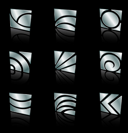 metallic abstract square icons on a black background