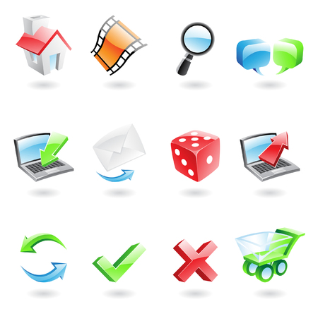 Glossy and colourful web icons isolated on white Vector