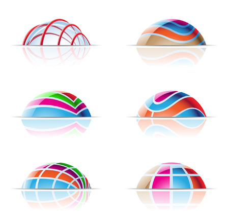 features: vector illustration of colourful domes and reflections