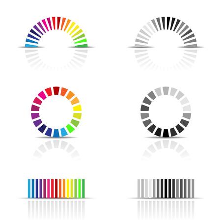 color image creativity: ilustraci�n vectorial de color perfil de las muestras, CMYK, RGB