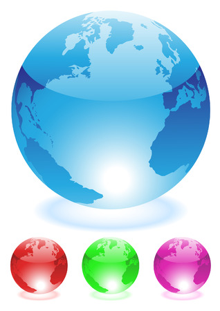 colourful glass globes isolated on a white background Vector