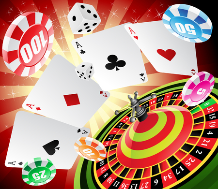 a roulette table with various gambling and casino elements Vector