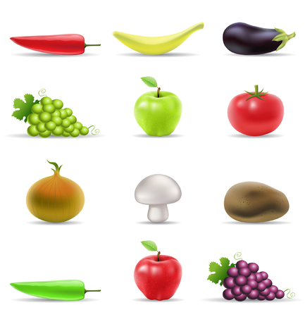 greengrocer: various fruit and vegetables icons isolated on white Illustration