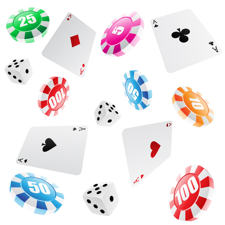 playing cards, roulette chips and dices seamless pattern Vector