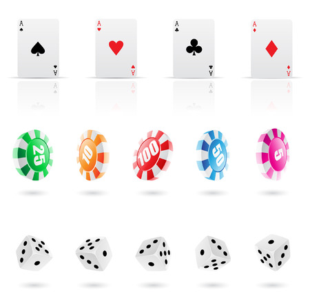 playing cards, roulette chips and dices icons Vector