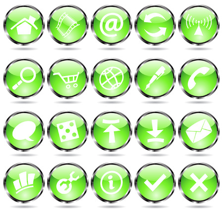 Green glossy web icons with metallic frames Vector