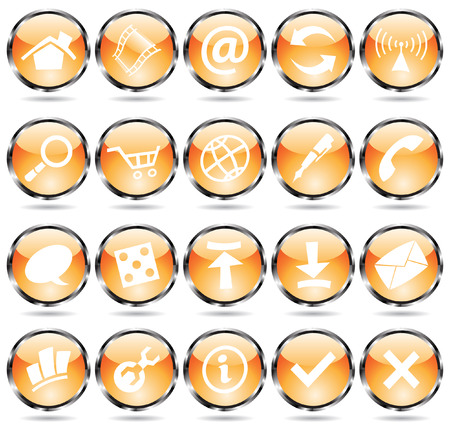 orange glossy web icons with metallic frames Vector