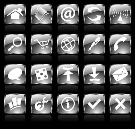 black glossy web icons with metallic frames Vector