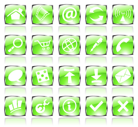 green glossy web icons with metallic frames Stock Vector - 4943512