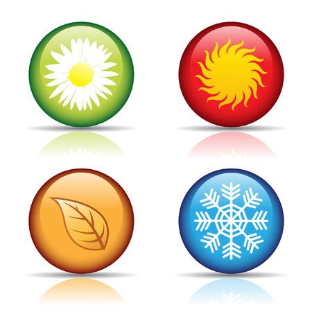 estaciones del a�o: vector de iconos coloridos cuatro estaciones aisladas en blanco