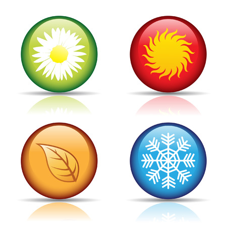 vector of colorful four seasons icons isolated on white Vector