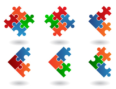 6 Jigsaw puzzle icons isolated on a white background
