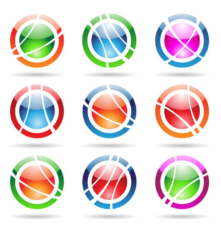 abstract design elements: glossy orbit icons Vector