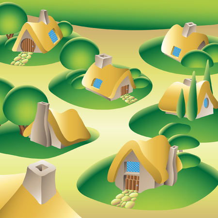 country houses and a village in a forest Vector