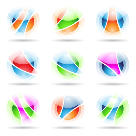 Vector illustration of abstract design elements: vibrant, transparent, spheres isolated on white Vector