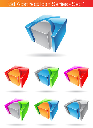 Vector illustration of 3d Abstract Icon Series - Set 1 Vector