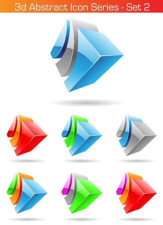 Vector illustration of 3d Abstract Icon Series - Set 2 Vector