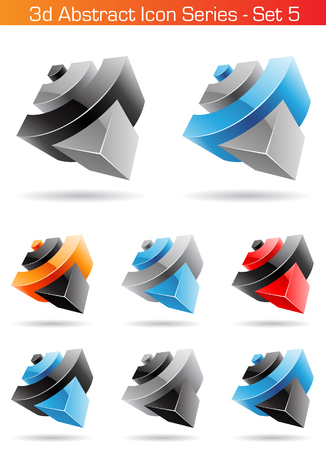 Vector illustration of 3d Abstract Icon Series - Set 5 Vector