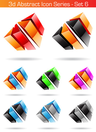 Vector illustration of 3d Abstract Icon Series - Set 6 Vector