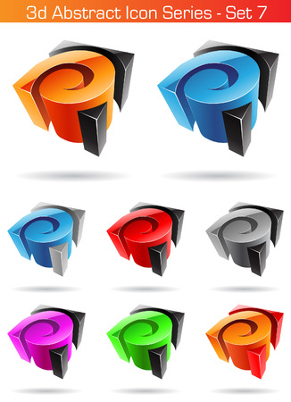 Vector illustration of 3d Abstract Icon Series - Set 7 Vector