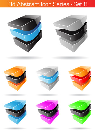 Vector illustration of 3d Abstract Icon Series - Set 8 Vector