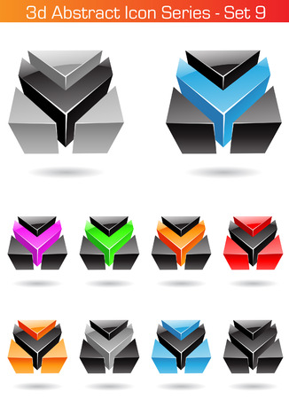 Vector illustration of 3d Abstract Icon Series - Set 9 Vector