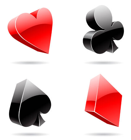 Vector illustration of 3d glossy playing card suits Vector