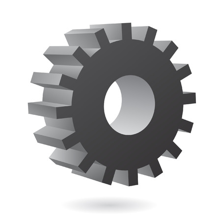 3d black cog icon on white background Vector