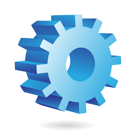 3d blue cog icon on white background Stock Vector - 7262137