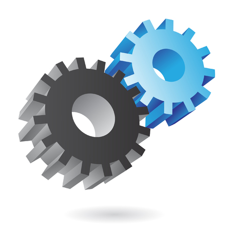 mechanical engineer: 3d blue and black cogs on white background