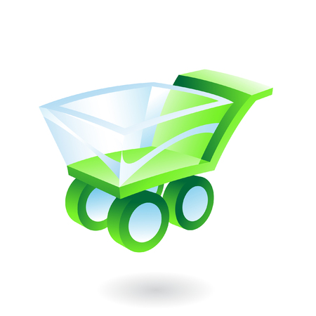 stock clip art icon: green and blue 3d shopping cart Illustration