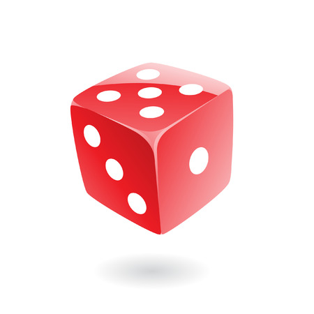 3d red dice isolated on white Stock Vector - 7262116