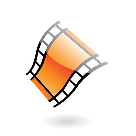 carrete de cine: carrete de pel�cula 3D aislado en blanco  Vectores