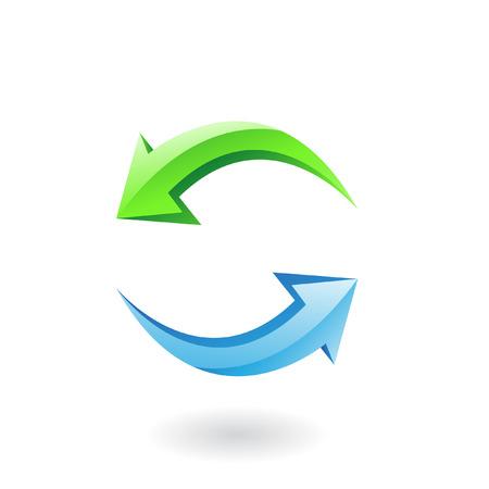 opfrissen: 3D-glossy vernieuwen pictogram, groene en blauwe pijlen geïsoleerd op wit