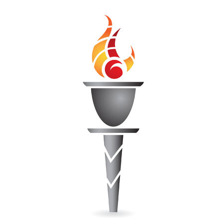 ancient torch isolated on white Vector