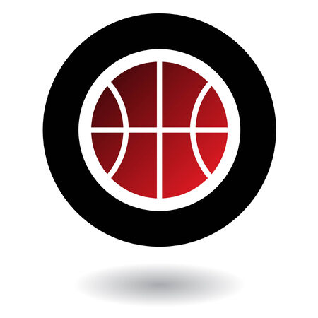 basketball hoop: Red basketball isolated on white