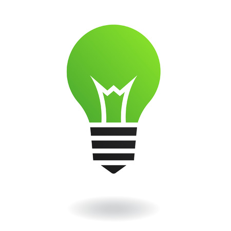 creativity logo: Green bulb isolated on white